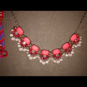 Gold and coral beaded necklace